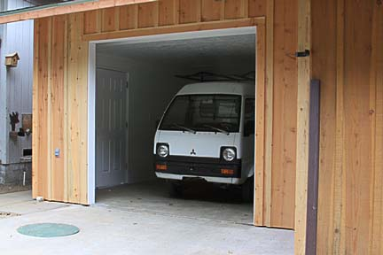 Completed Garage Bay with Minipickup Parked Inside